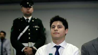 Nicolas Zepeda, soupçonné du meurtre de son ancienne petite amie japonaise en 2016 à Besançon, assiste à une audience concernant son extradition, le 5 mars 2020 à Santiago