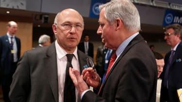 Michel Sapin et Christian Noyer vendredi au FMI