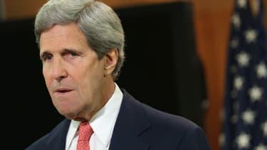Le chef de la diplomatie américaine John Kerry lors d'une déclaration sur la situation en Ukraine, le 24 avril 2014 à Washington.