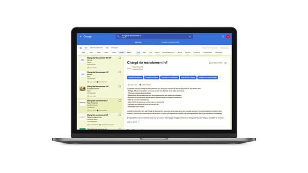 Les filtres de recherche Google sur les offres d'emploi.