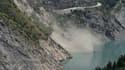 Le glissement de terrain au lac du Chambon, dimanche.