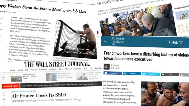 La presse britannique et américaine offre une large place dans ses pages aux brutalités intervenues chez Air France lundi.
