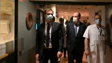 Olivier Véran et Jean Castex visitent l'hôpital de Tours, le 2 avril 2019