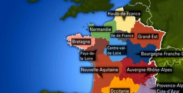 La carte des nouvelles régions de France.