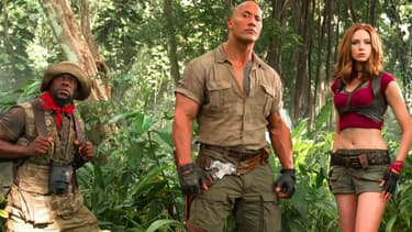 "Kevin Hart, Dwayne Johnson et Karen Gillan dans ""Jumanji: Bienvenue dans la jungle"""
