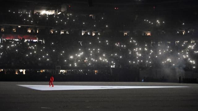 """Le rappeur Kanye West a présenté jeudi soir son dixième album, """"Donda"""", lors d'une séance d'écoute dans un stade plein à Atlanta"""