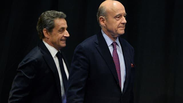 Nicolas Sarkozy et Alain Juppé à Limoges le 14 octobre 2015.