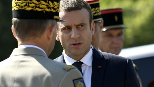Emmanuel Macron lors de la commémoration de l'Appel du 18 juin, le 18 juin 2017 au Mont-Valérien