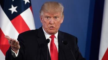 Donald Trump lors de la conférence de presse qu'il a tenu à Varsovie en Pologne le 06 juillet 2017