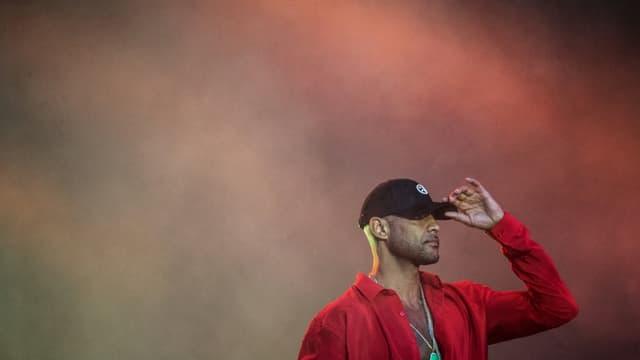 Le rappeur Booba en juillet 2019 au festival des Vieilles Charrues, à Carhaix