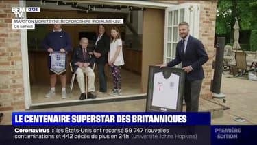 """""""Captain Tom"""", le centenaire superstar des Britanniques, a reçu la visite de David Beckham"""
