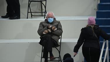 Bernie Sanders lors de l'investiture de Joe Biden à Washington, le 20 janvier 2021