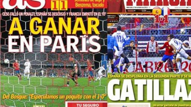 La presse espagnole mettait déjà la pression sur la Roja après le nul du match aller (1-1)