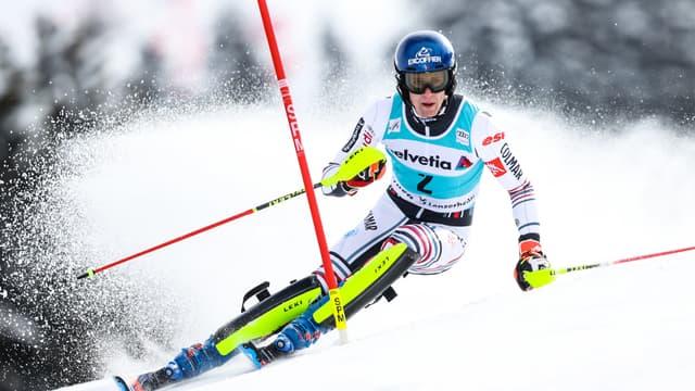 Clément Noël lors du slalom de Lenzerheide