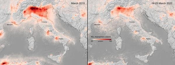 Les niveaux de dioxyde d'azote en Italie