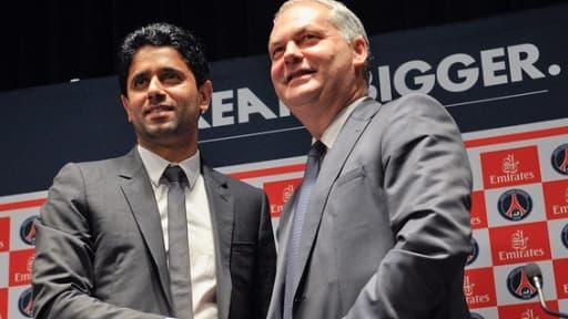 Le président du PSG, Nasser Al Khelaïfi, en compagnie du numéro deux de Fly Emirates, Thierry Antinori.
