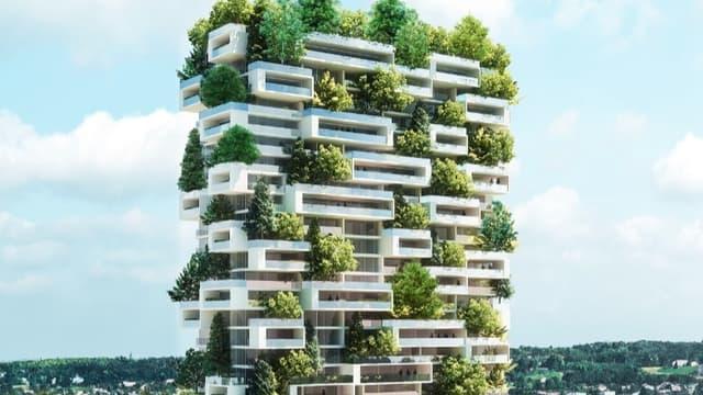 Une tour résidentielle avec des jardins suspendus
