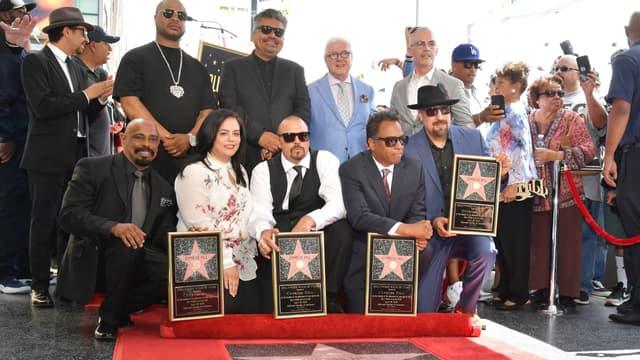 Xzibit, B-Real, DJ Muggs, Sen Dog, Eric Bobo of Cypress Hill, George Lopez, Rana Ghadban et Mitch O'Farrell lors de la cérémonie honorant Cypress Hill