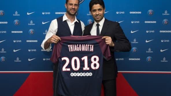 Thiago Motta et Nasser Al-Khelaïfi