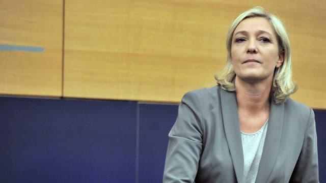 Marine Le Pen lors d'une conférence de presse au Parlement européen à Strabourg, le 19 janvier 2011.