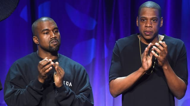 Kanye West (à gauche) et Jay Z, lors du lancement de la plateforme de streaming Tidal.