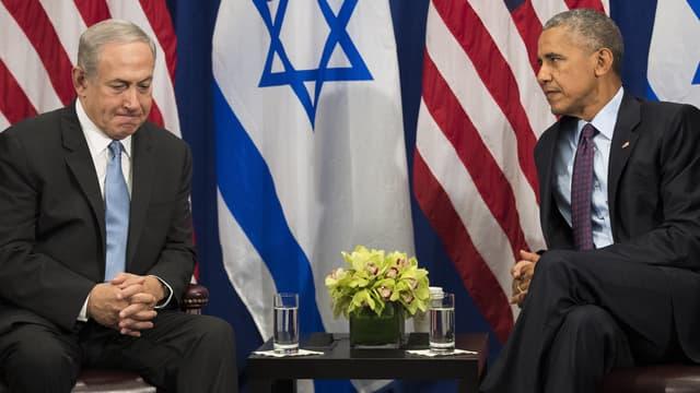 Benjamin Netanyahu et Barack Obama, lors d'une rencontre à New York, en septembre 2016.