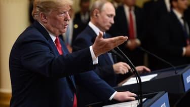 Donald Trump et Vladimi Poutine lors d'une conférence de presse commune donnée le 16 juin dernier à Helsinki.
