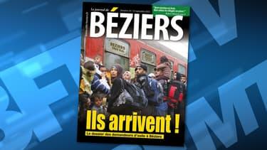 """""""Ils arrivent!"""". Le dernier numéro du Journal de Béziers manipule une photo de l'AFP pour semer la psychose sur la crise des migrants."""