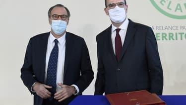 Renaud Muselier et Jean Castex réunis le 5 janvier 2021 pour la signature à Toulon du contrat Etat-région