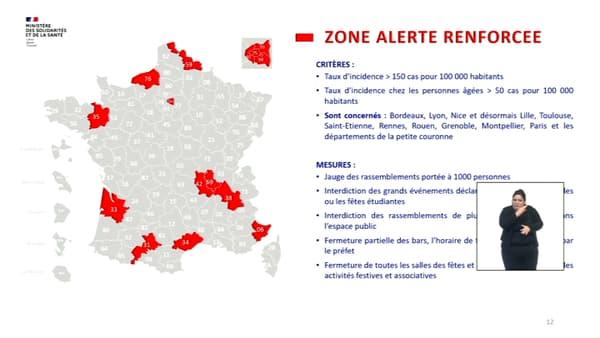 """Carte des zones placées en """"alerte renforcée""""."""