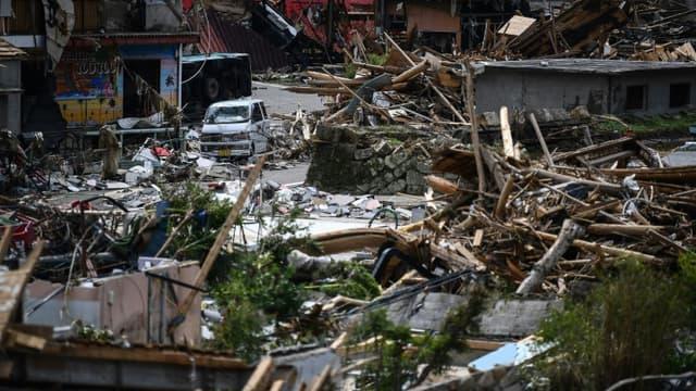 Le village de Kuma au Japon dévasté par des pluies torrentielles et des inondations, le 8 juillet 2020