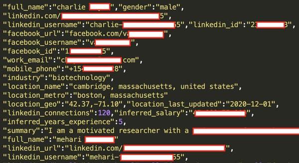 Le pirate a posté un échantillon de données d'un million d'utilisateurs.