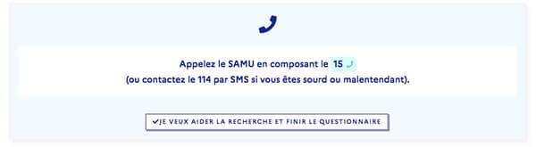 Capture d'écran du site www.gouvernement.fr/info-coronavirus/orientation-medicale