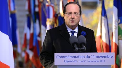 François Hollande à Oyonnax, lors des commémorations du 11-Novembre.