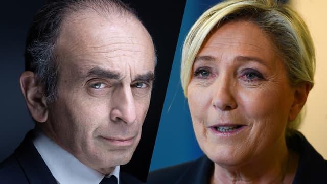 Eric Zemmour et Marine Le Pen.