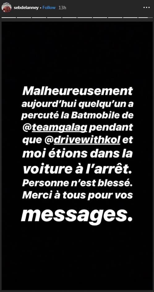 Le message publié par Seb Delanney sur Instagram