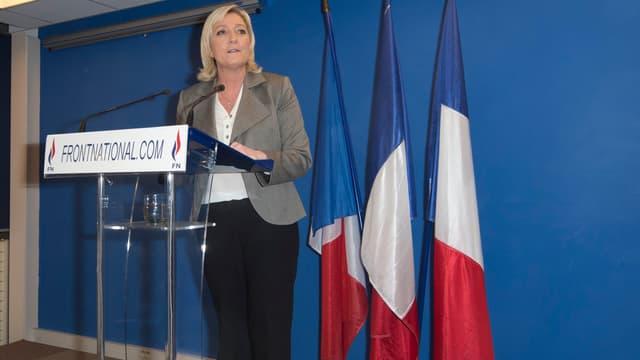 Marine Le Pen, après les Départementales, le 29 mars 2015 à Nanterre.