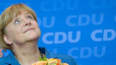 Angela Merkel après l'annonce de sa victoire.