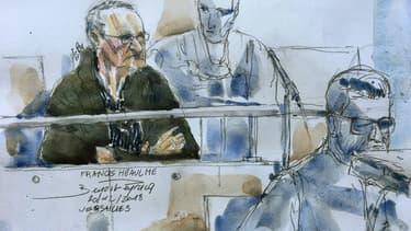 Un dessin représente Francis Heaulme à son procès le 20 décembre 2018 à la cour d'assises de Versailles.