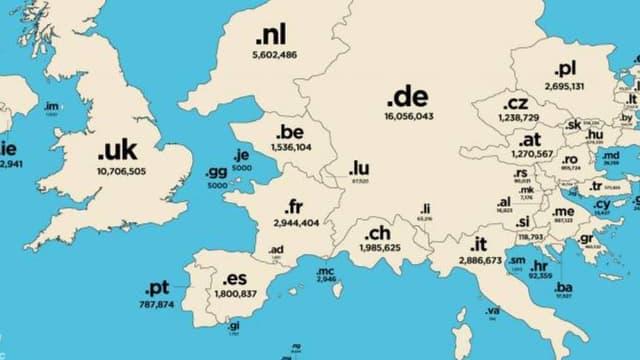 La carte du monde sous le prisme des noms de domaine.