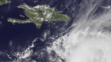 Vue satellite l'ouragan Matthew sur les Caraïbes.
