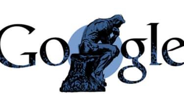 """Le """"penseur"""" de Rodin en page d'accueil du moteur de recherche Google"""