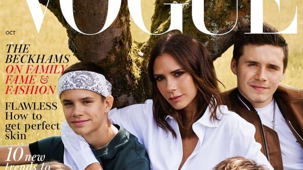 Victoria Beckham et ses enfants Brooklyn, Romeo, Cruz et Harper.