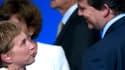 Laurence Parisot s'entretient avec Arnaud Montebourg à l'occasion de la conférence des ambassadeurs de François Hollande.