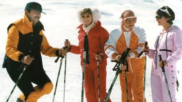 "Gérard Jugnot, Marie-Anne Chazel, Michel Blanc et Josiane Balasko dans ""Les Bronzés font du ski"", en 1979."