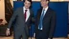 Eric Woerth (à droite) lors de la passation de pouvoir avec François Baroin, qui lui succède au ministère du Budget. Les syndicats ont accueilli avec scepticisme la nomination d'Eric Woerth au ministère du Travail, le mettant en garde contre une réforme c