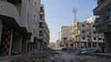 Dans les rues d'Irbin, près de Damas. Pour les Syriens, l'année 2013 a débuté comme la précédente au son des bombardements aériens et de l'artillerie, qui a notamment ouvert le feu sur les faubourgs de l'est et du sud de Damas, tenus par les rebelles. /Ph