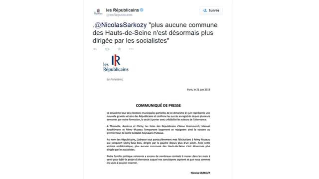 Le communiqué - avec erreur - de Nicolas Sarkozy