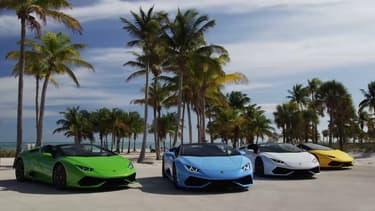 """La Huracan Spyder est avant tout une affaire de """"lifestyle"""", pas étonnant que Miami s'impose comme cadre pour présenter cette nouvelle déclinaison de la Huracan."""