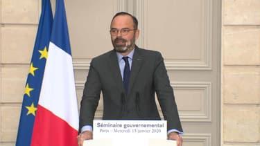 Édouard Philippe à l'Elysée, le 15 janvier 2020